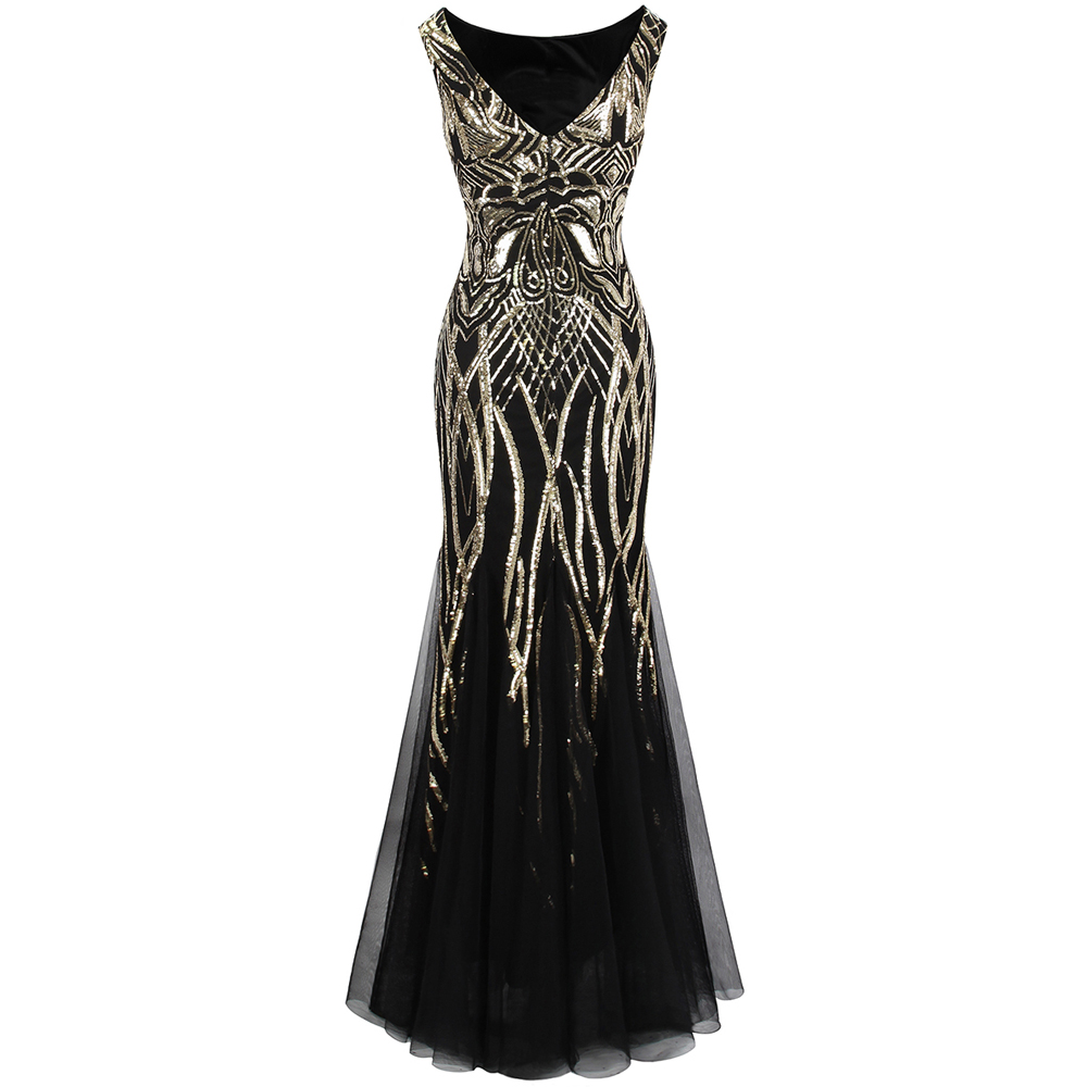 Angel Fashions Bateau Boat Neck Vintage Golden Sequin Ball Gown Long